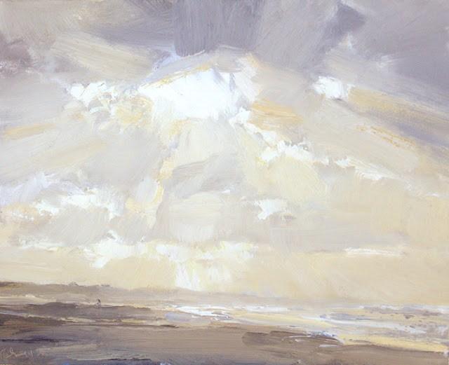 """Seascape winter #11 Sun- Love for yellow winter light"" original fine art by Roos Schuring"