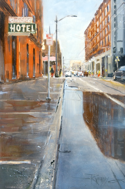 """The Cadillac Hotel  Seattle city oil painting by Robin Weiss"" original fine art by Robin Weiss"