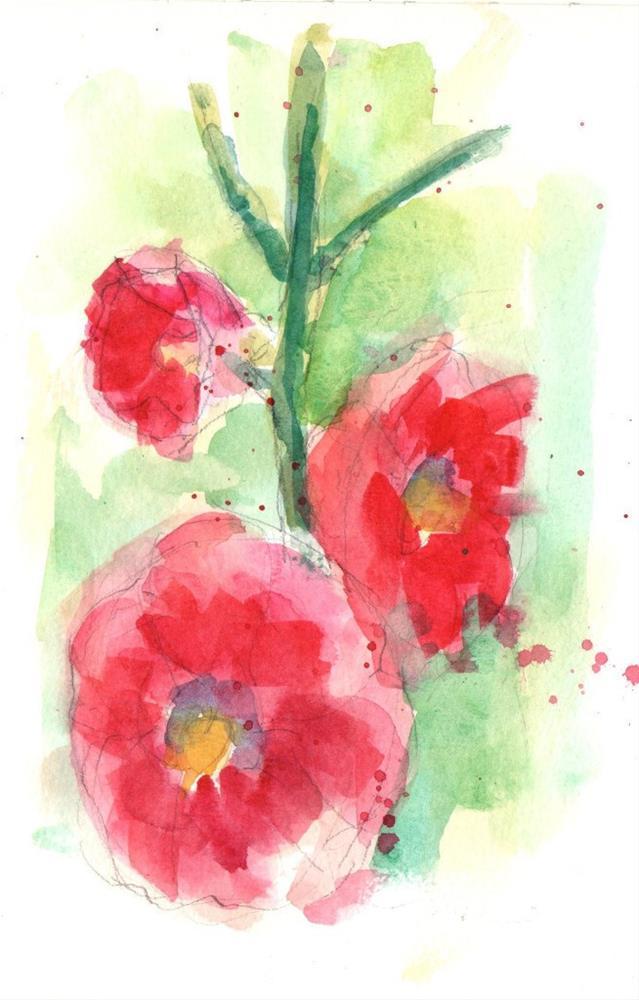 """Holly Hocks at Cloverleaf Farm"" original fine art by Marlene Lee"