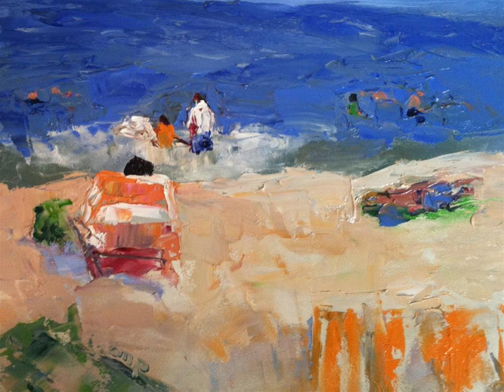 """Seascape with figures"" original fine art by Christine Parker"