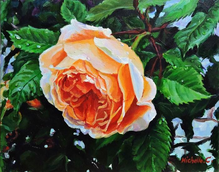 """""""Come into rose"""" original fine art by Michelle chen"""