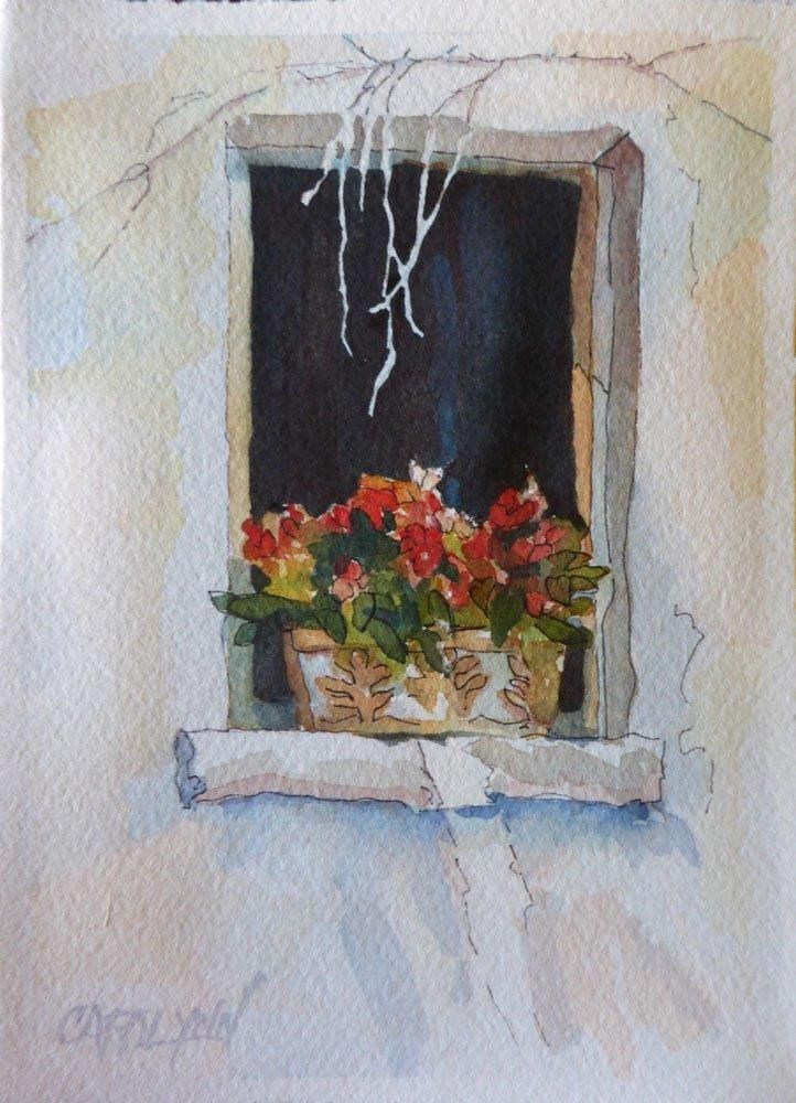 """Window of Tourette, France"" original fine art by Carolynn Doan"