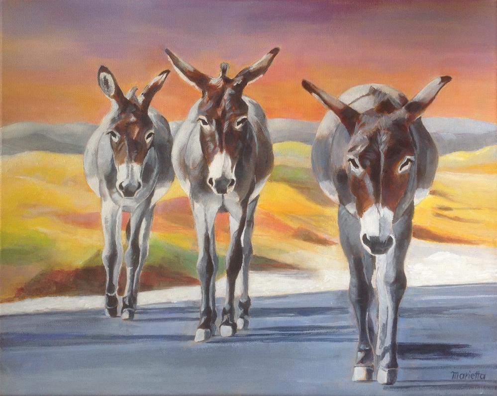 """ The Three Amigos "" original fine art by Marietta Modl"