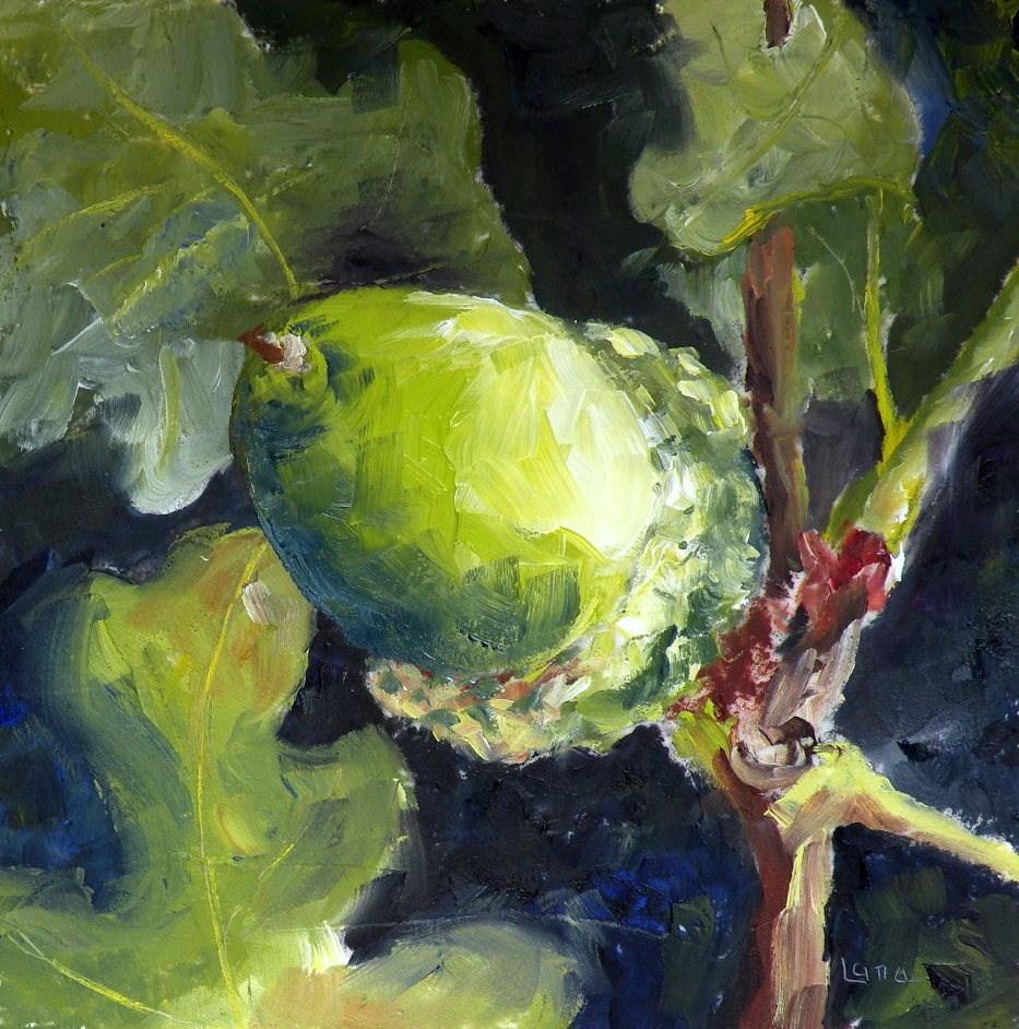 """Acorn in Green Original oil on fiberboard."" original fine art by Saundra Lane Galloway"