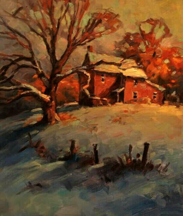 """Red House"" original fine art by J Scott Wolf"