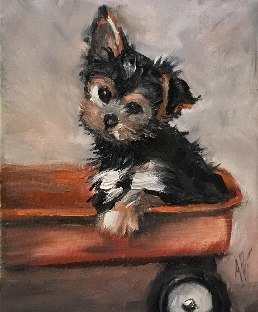 """""""Pup on the Wagon"""" original fine art by Annette Balesteri"""