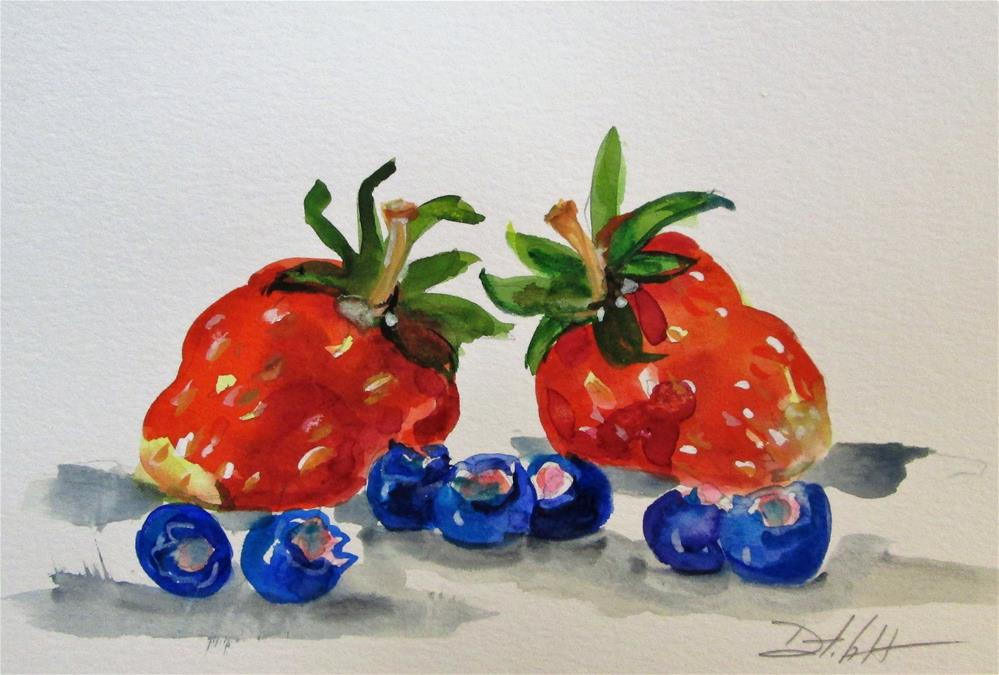 """""""Strawberries and Blueberries"""" original fine art by Delilah Smith"""