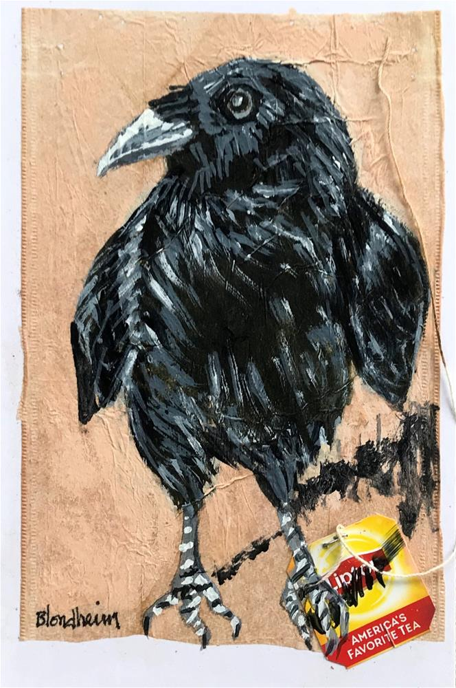 """Tea Bag Painting Fledgling Crow"" original fine art by Linda Blondheim"