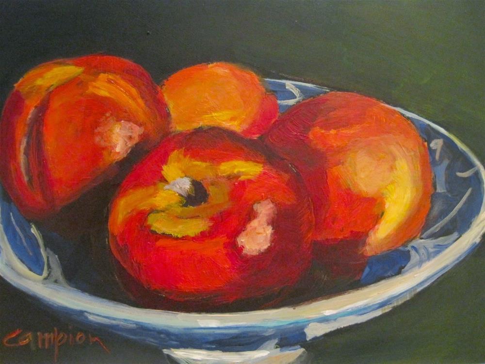 """""""452 Nectarines, Bird's Eye View"""" original fine art by Diane Campion"""
