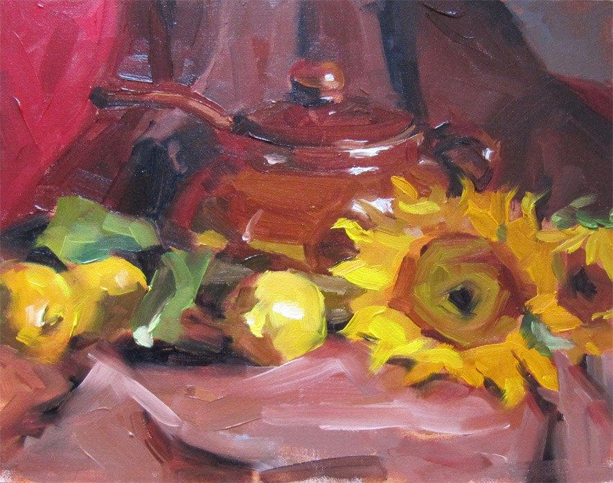 """Sunflowers & Lemons"" original fine art by Katia Kyte"