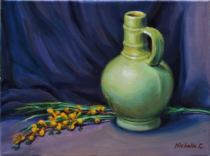"""""""Green Vase"""" original fine art by Michelle chen"""