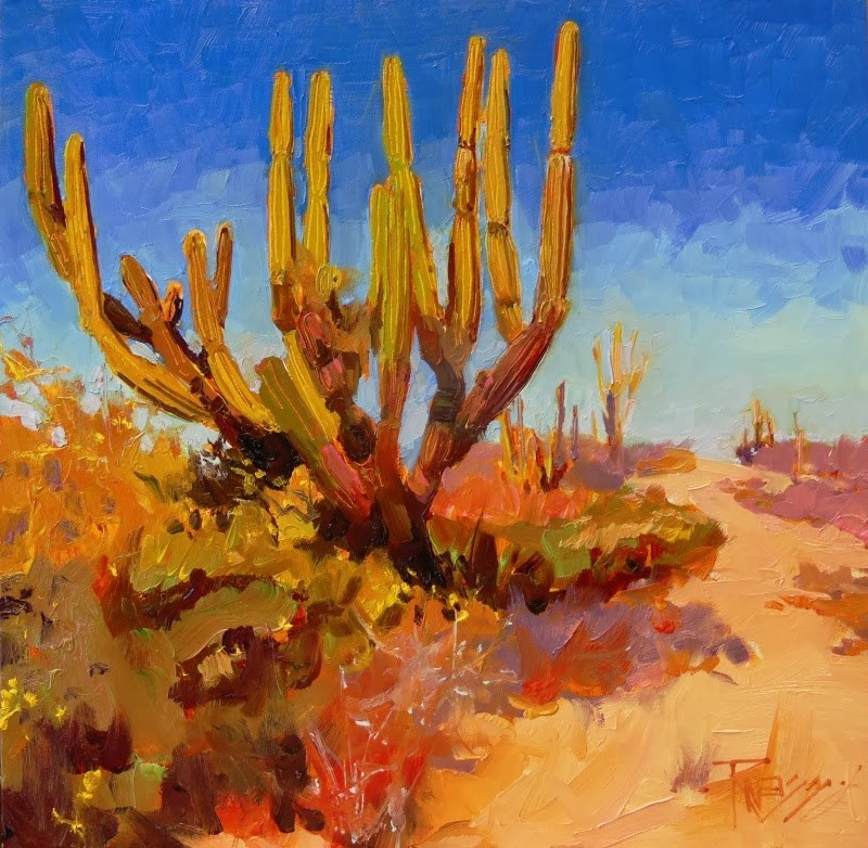 """""""On the Road to Cerritos  Mexico, desert, landscape painting by Robin Weiss"""" original fine art by Robin Weiss"""