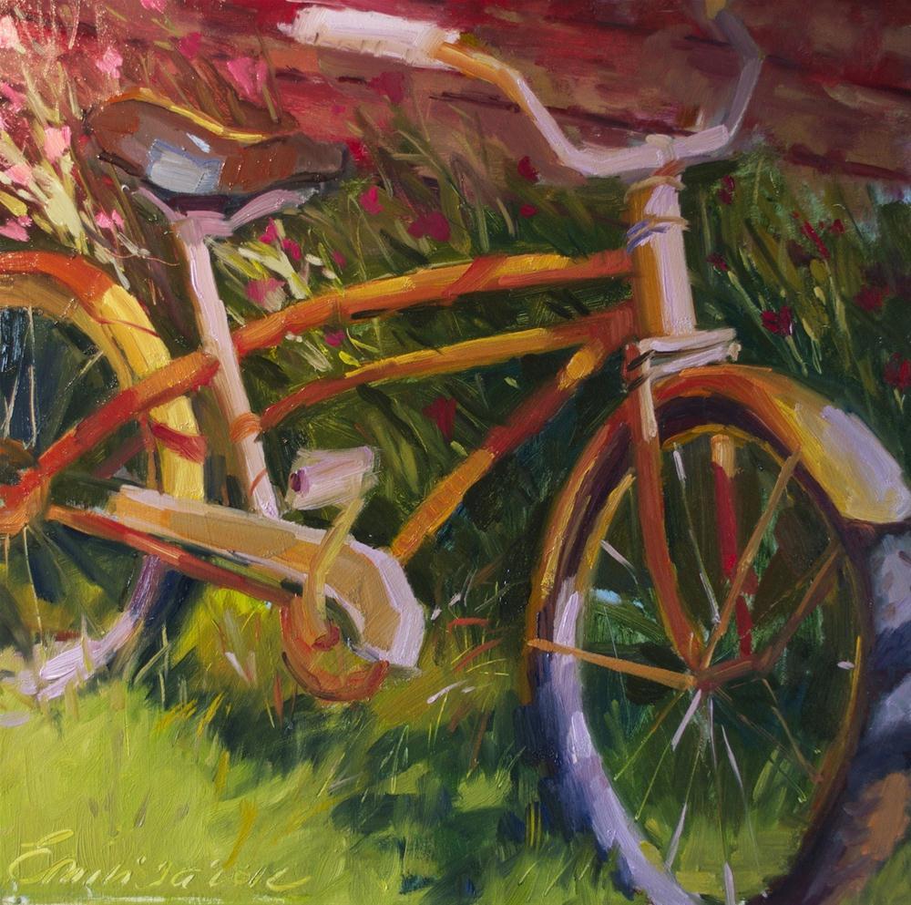 """""""Colorful Ride oil on board , 15'x 15'"""" original fine art by Emiliya Lane"""