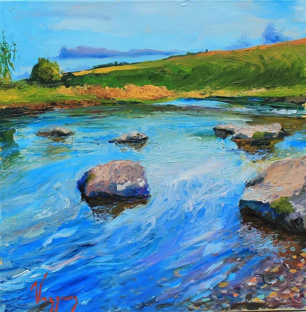 """""""Water and rocks"""" original fine art by Marco Vazquez"""