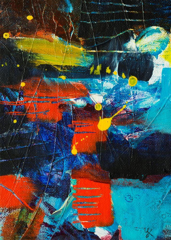 """Improvisation with Red and Blue"" original fine art by Yulia Kazansky"