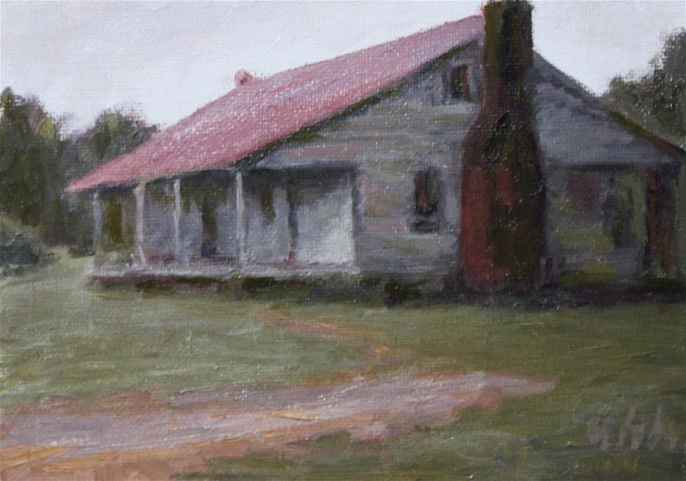 """Old House"" original fine art by Yuehua He"