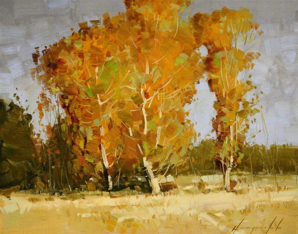 """AUTUMN TREES ORIGINAL OIL PAINTING"" original fine art by V Y"