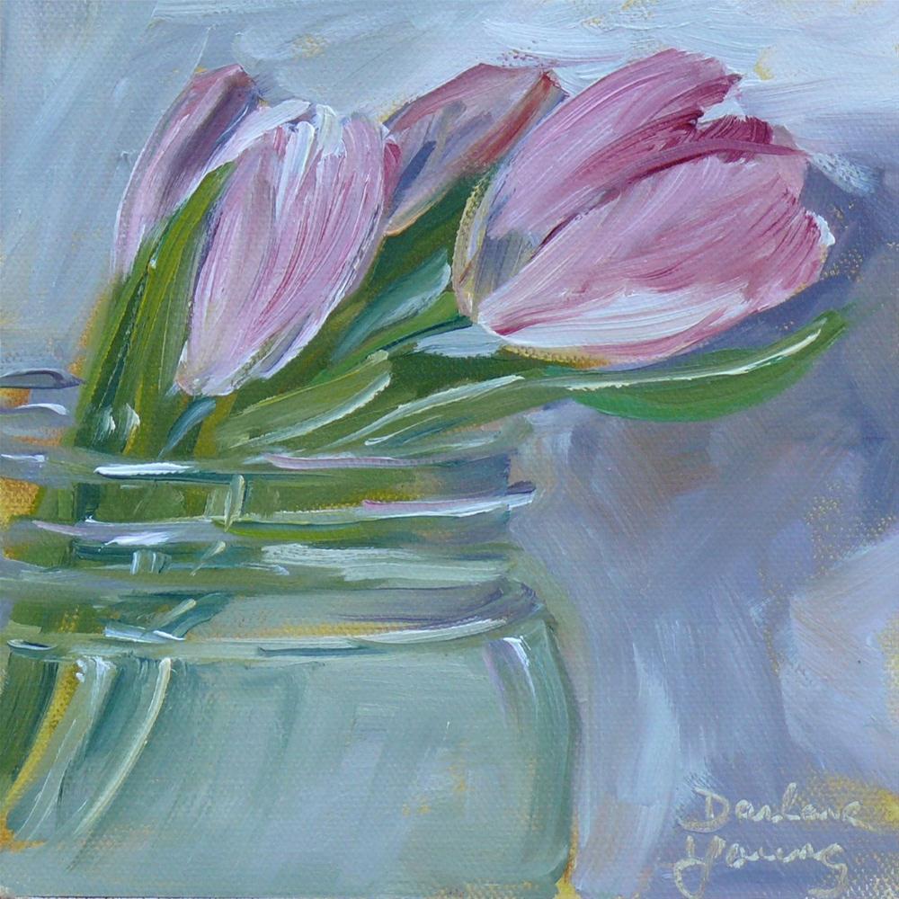 """603 Tulips in a Jar #2"" original fine art by Darlene Young"