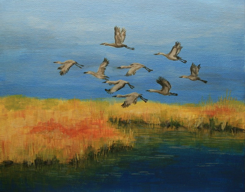 """Geese in Flight"" original fine art by Jean Nelson"