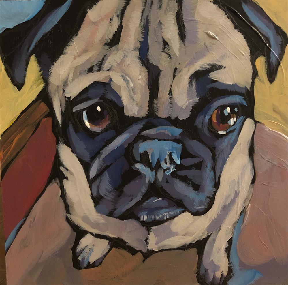 """Pug View #4"" original fine art by Kat Corrigan"