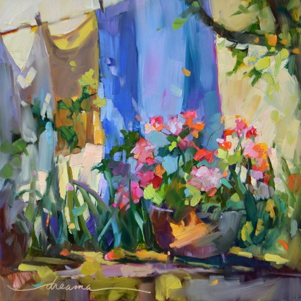 """""""Sunny Monday in France"""" original fine art by Dreama Tolle Perry"""