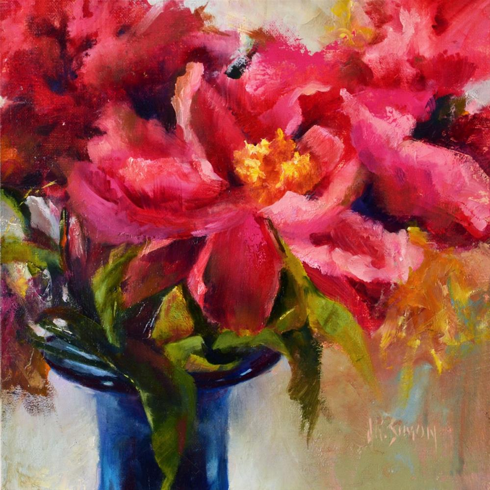 """Old Fashioned Peony"" original fine art by A.K. Simon"