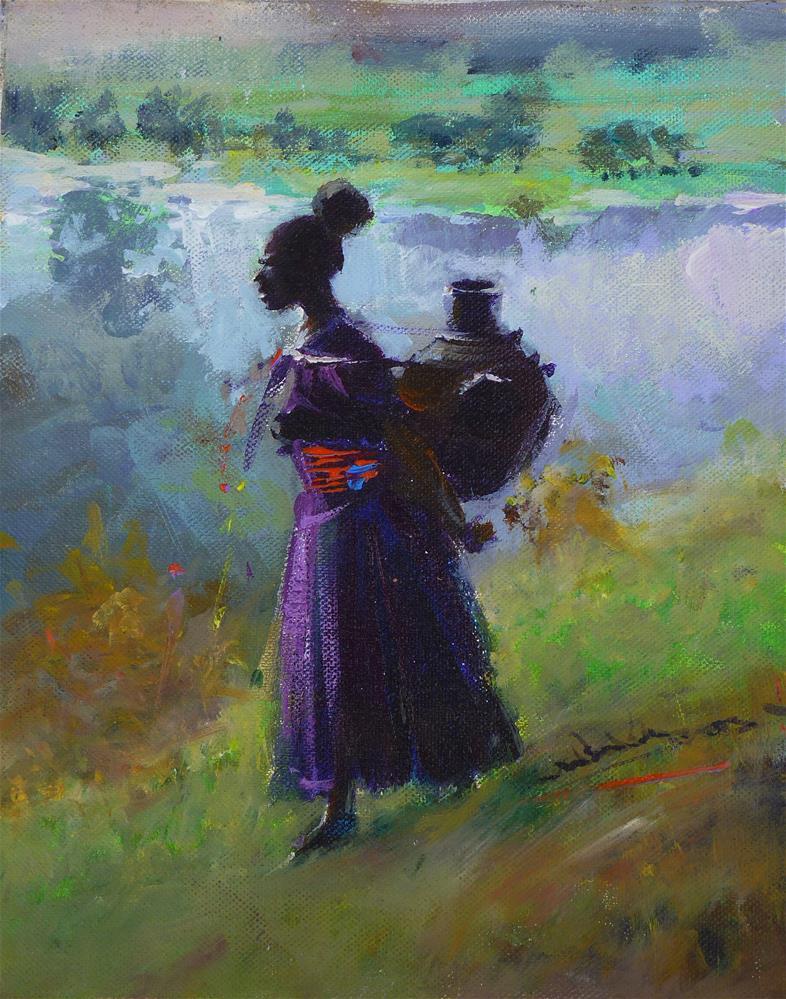 """Water Pot Woman"" original fine art by Adebanji Alade"
