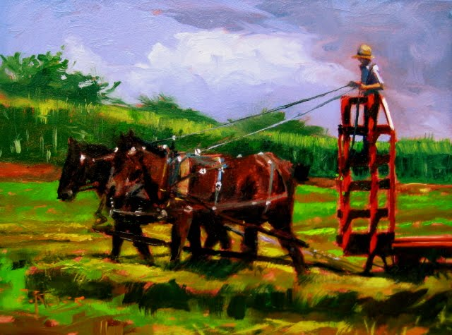 """""""Baling Hay  Amish country, Ohio, daily landscape painting"""" original fine art by Robin Weiss"""