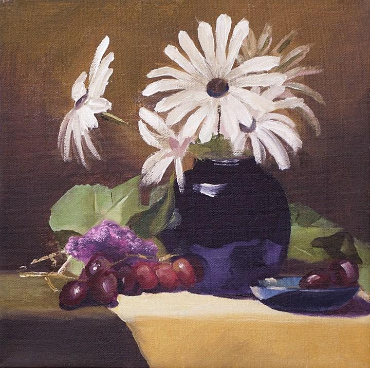 """Still Life with Daisies"" original fine art by Catherine Van Berg"