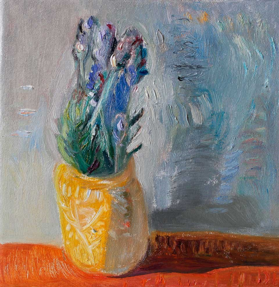 """Bouquet of Lavender Flowers in a Yellow Pot"" original fine art by Anna Fine Art"