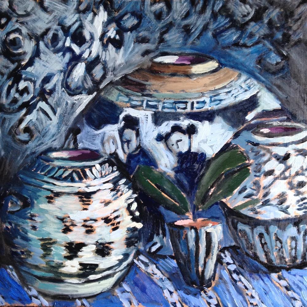 """Nothing But Net...I Mean Blue"" original fine art by Pamela Hoffmeister"