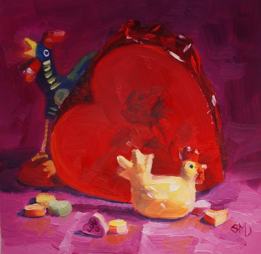 """""""Love is in the Air. the Traveling Chicken"""" original fine art by Susan McManamen"""
