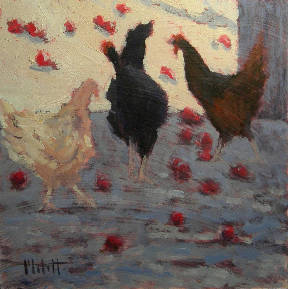 """Chickens and Apples Original Little Oil Painting"" original fine art by Heidi Malott"