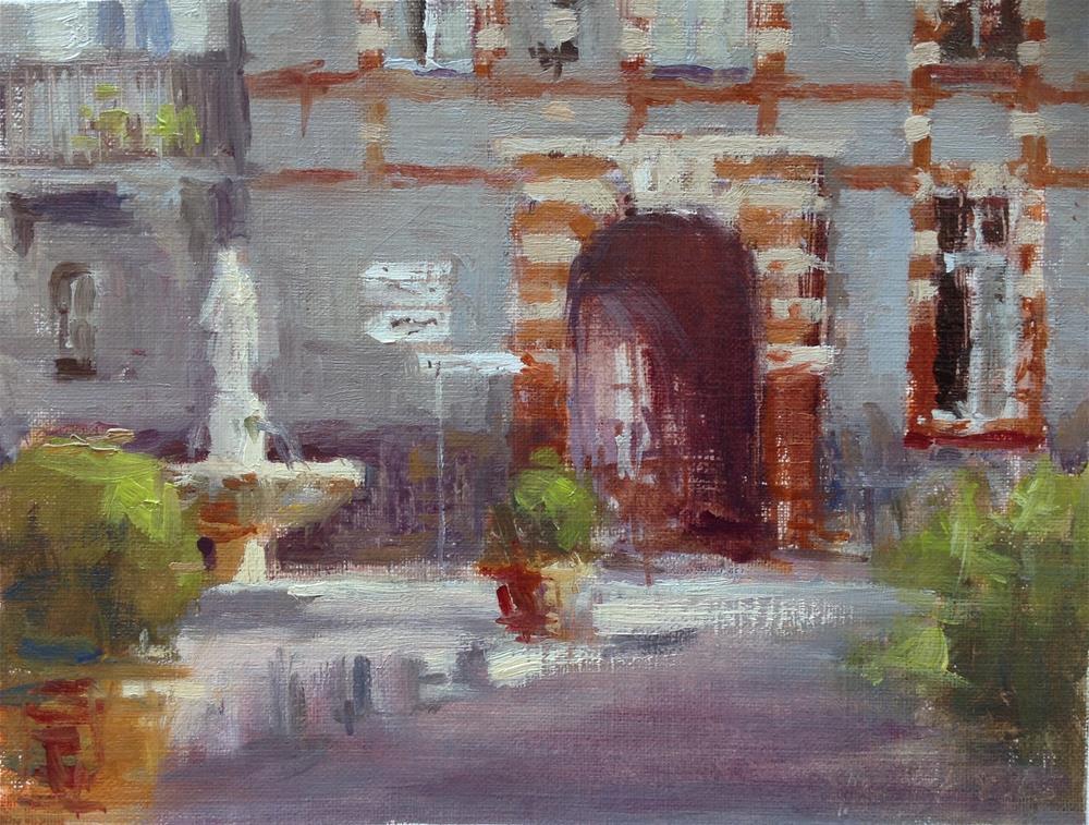 """Place Sainte Scarbes"" original fine art by Christine Bayle"