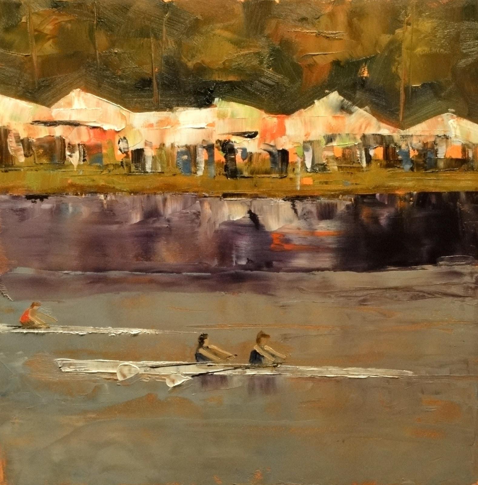 """Regatta on the Charles, 8x8"" original fine art by Ann Feldman"