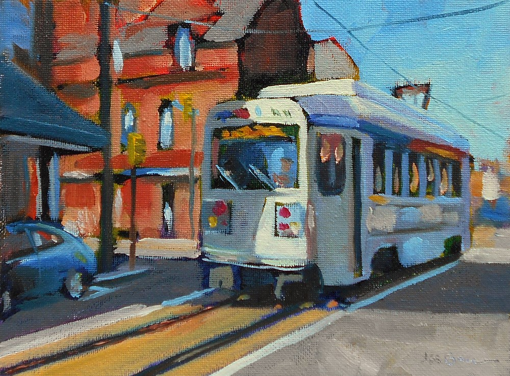 """101 Trolley"" original fine art by Jeanne Bruneau"