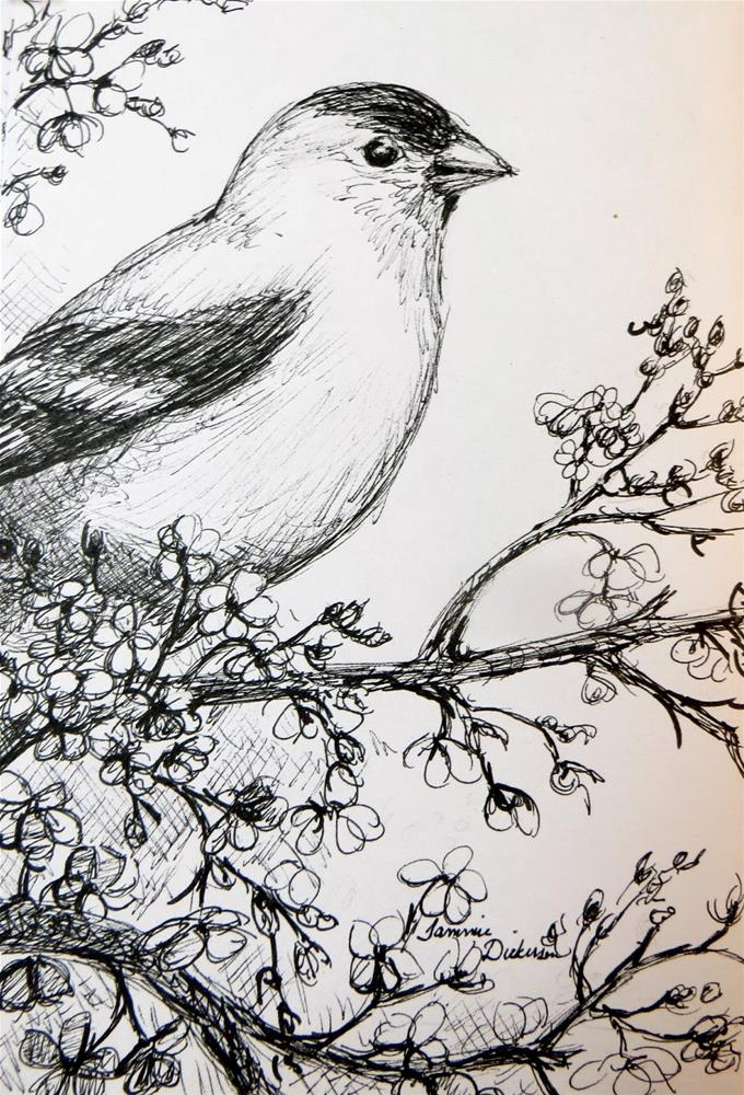 """""""Goldfinch in the Plum Tree"""" original fine art by Tammie Dickerson"""