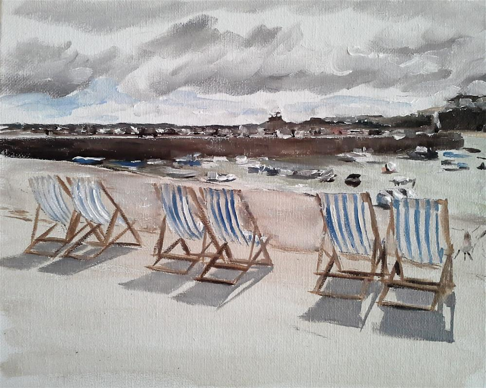 """""""Deck Chairs at St Ives"""" original fine art by James Coates"""