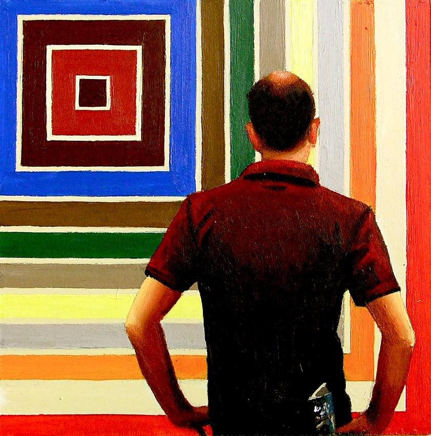 """Stella Colors- Man Looking At Art By Frank Stella In Museum"" original fine art by Gerard Boersma"
