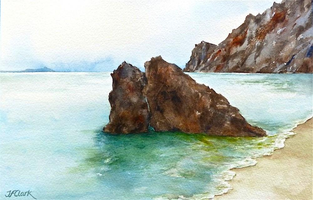 """Fegina Beach, Monterosso al Mare"" original fine art by Judith Freeman Clark"