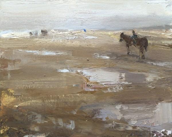 """Seascape Horse on a Beach"" original fine art by Roos Schuring"