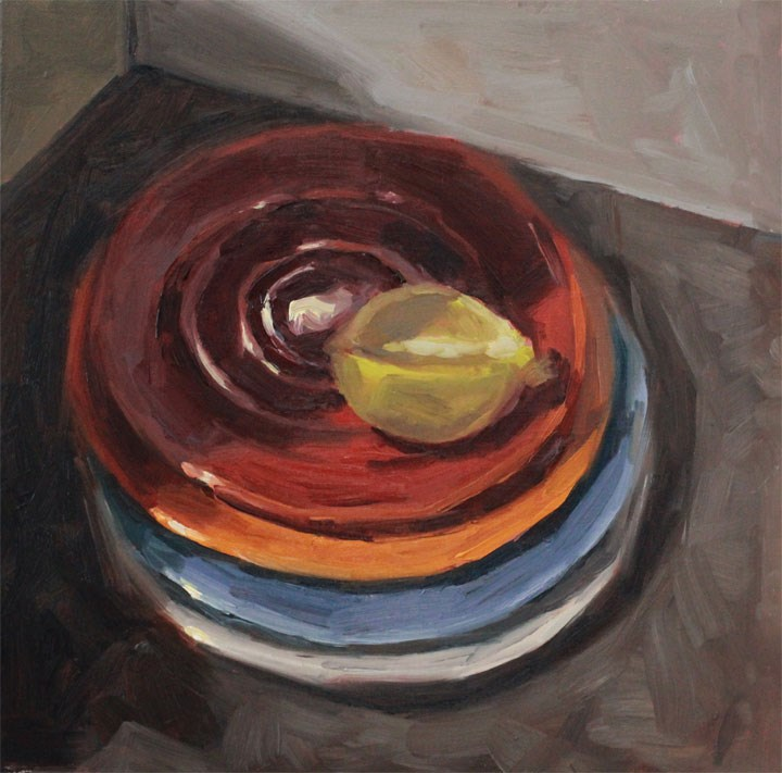 """""""Stacked Plates"""" original fine art by Nealy May Riley"""