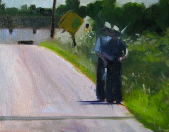 """""""One Lane Bridge  oil landscape painting from Amish country"""" original fine art by Robin Weiss"""