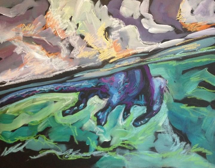 """A & P Otter"" original fine art by Kat Corrigan"