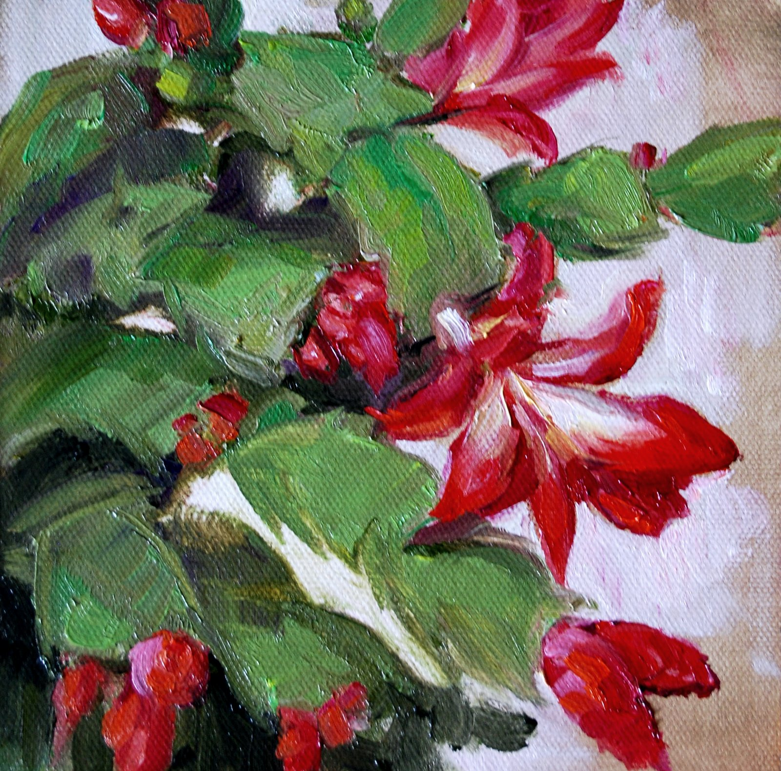 """Christmas Cactus ll"" original fine art by Julie Ford Oliver"