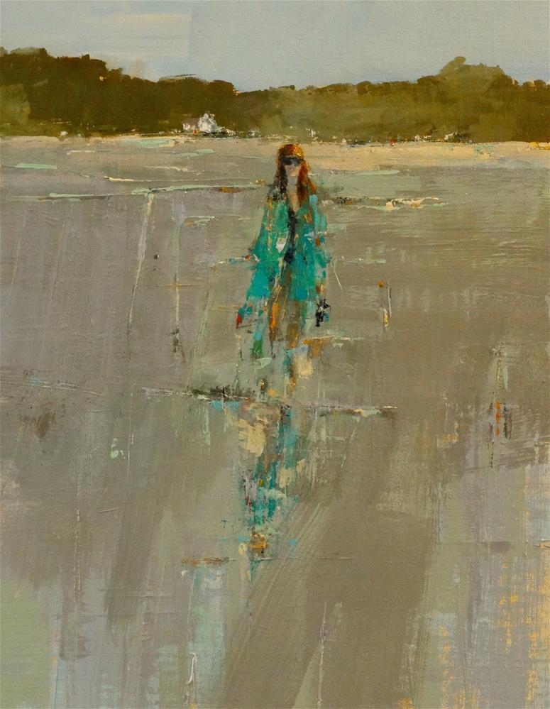 """Girl at Inlet 22x16 oil/canvas"" original fine art by Deborah R Hill"