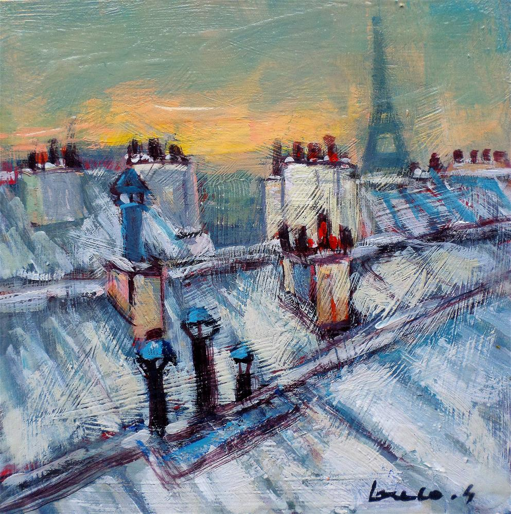 """""""Snow on the roofs in Paris"""" original fine art by salvatore greco"""