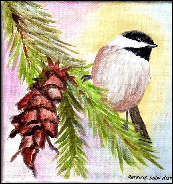 """Chickadee on Pine Branch"" original fine art by Patricia Ann Rizzo"