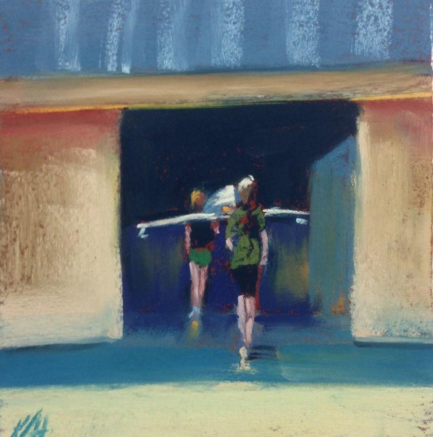 """""""Watch the Rigger"""" original fine art by Karen Vanderpool"""