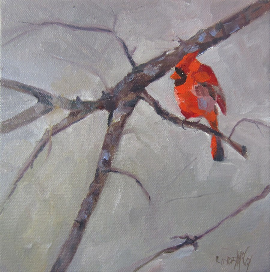"""Winter's Red, Bird Oil Painting"" original fine art by Linda McCoy"